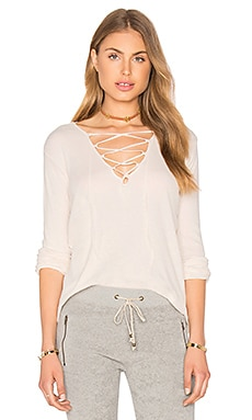 Ragdoll Rib Long Sleeve Lace Up in Bone White