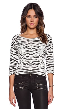 Ragdoll Vintage Long Sleeve Tee in White Zebra