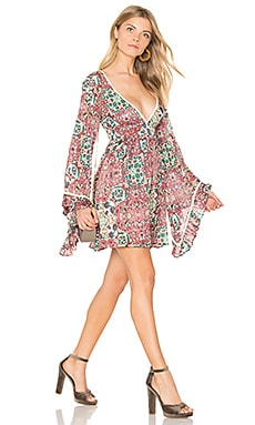 Sunset Rose Bell Sleeve Dress in Rose