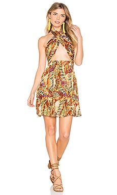 Paradise Peak Wrap Halter Dress in Brown