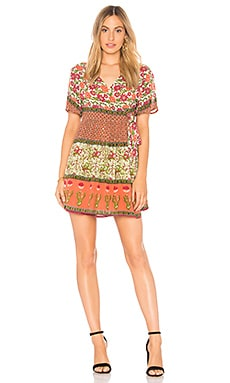 Enchanted Forest Short Wrap Dress In Coral Raga $52