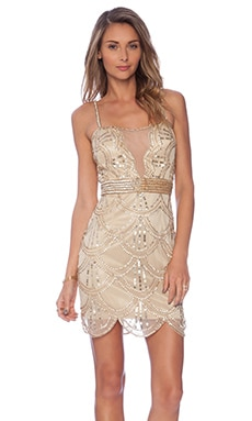 Raga Embellished Mini Dress in Gold