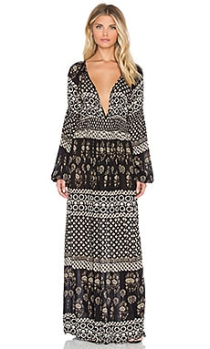 Raga The Remington Plunge Maxi Dress in Black