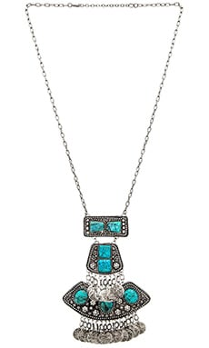 Raga Multi Stone Coin Necklace in Silver