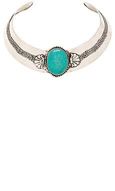Raga Turquoise Stone Choker in Silver