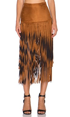 Desert Fringe Skirt in Chestnut