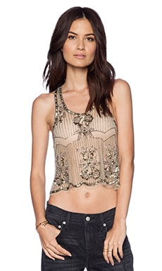 Raga Embellished Tank in Gold