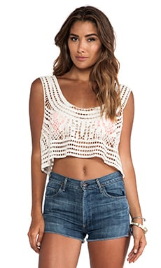 Raga Sheer Crop Top in Eggshell