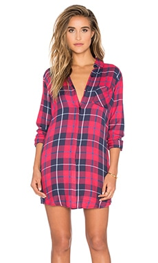 Rails Sawyer Button Down Dress in Cranberry & Navy & White