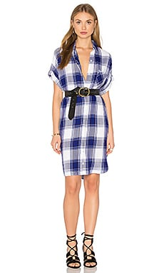 Savannah Button Down Dress in Cobalt & White