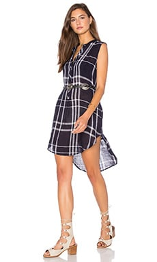 Jules Linen Blend Dress in Navy & Vanilla Plaid