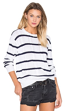 Natasha Sweater in White & Navy Stripe