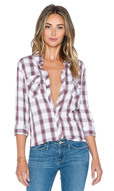 Rails Carmen Button Down in White & Coral