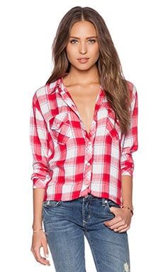 Rails Rocsi Button Down in White & Cranberry Check