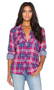 Rails Kendra Button Down in Scarlet & Blue