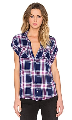Rails Britt Button Down in Navy & Magenta & White