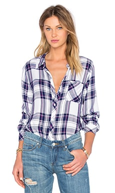 Rails Hunter Button Down in White Navy & Orchid