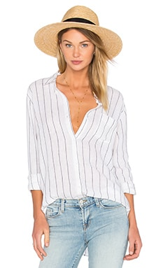 Charli Button Down in White & Ink Stripe