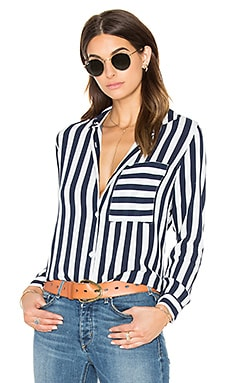 Rails Aly Button Down in Navy & White Block Stripe