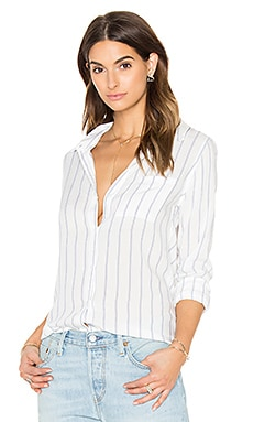 Taylor Button Down in White & Navy Stripe