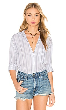 Daniella Button Down in White & Patriot Stipe