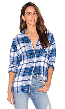 Jackson Flannel Button Down in White & Admirial
