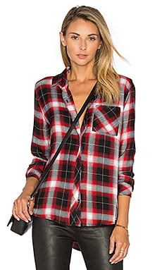 Hunter Button Down in Onyx & Crimson