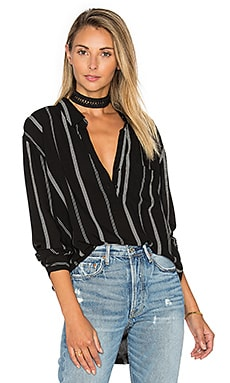 Elle Button Down in Black & Mocha Stripe