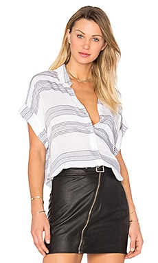 Whitney Button Up in White & Ash Stripe