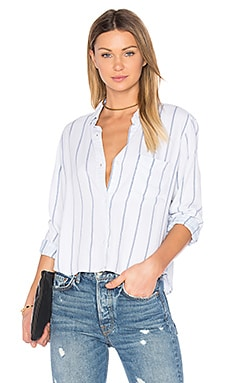 Dana Button Up in White Tribeca Stripe