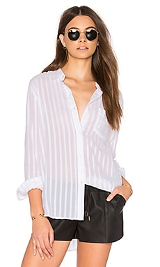 Charli Button Up in White Shadow Stripe