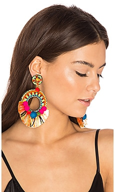 Raffia Hoop Earring in Multi