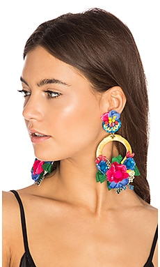 Flower Hoop Earring in Yellow & Blue