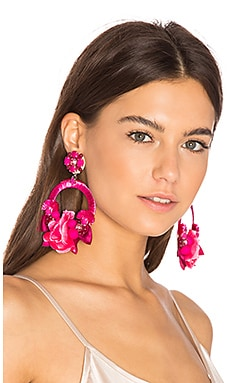 Flower Hoop Earring in Fuchsia