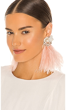 Ostrich Feather & Burnt Crystal Earrings Ranjana Khan $395 NEW
