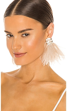 Baroque Pearl and Ostrich Feather Burst Earrings Ranjana Khan $295 Collections