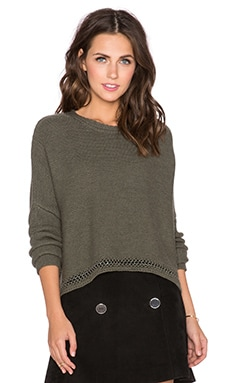 RAMY BROOK Frankie Chain Link Sweater in Green & Gun Metal