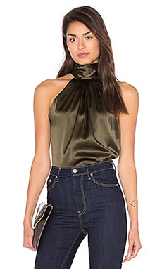 Paige Tie Neck Tank in Urban Green