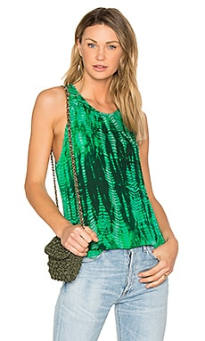 Silk Racer Tank in Emerald Tie Dye
