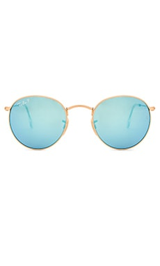 Ray-Ban Polarized Round Flash Lenses in Gold & Polarized Blue Flash