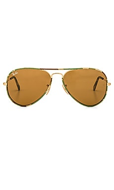 Ray-Ban Aviator Full Color in Army Gold & Brown Classic