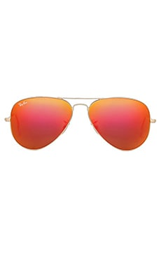 Metal Flash Lense Aviator en Or Mat & Flash Orange