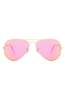 Ray-Ban Aviator Flash Lenses in Gold & Cyclamen Mirror