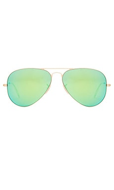Large Metal Aviator in Matte Gold & Grey Mirror Green
