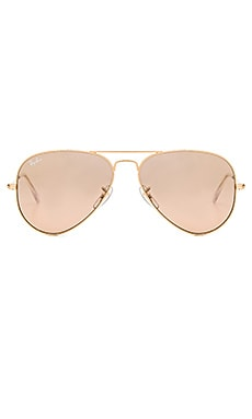 Aviator in Gold & Crystal Brown Pink Silver Mirror