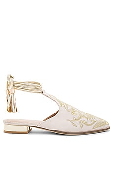x REVOLVE Kate Embroidered Slide in Nude