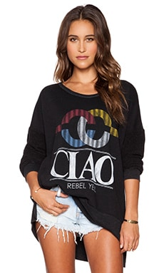 Rebel Yell Ciao Tunic Sweatshirt in Black