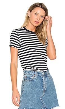 Striped Ringer Tee in Navy & Cream
