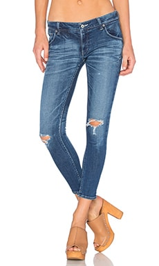 Regalect Extend Low Rise Skinny in Blue Destructed