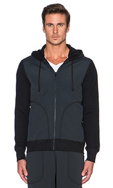 Reigning Champ Zip Front Hoodie in Black/Black